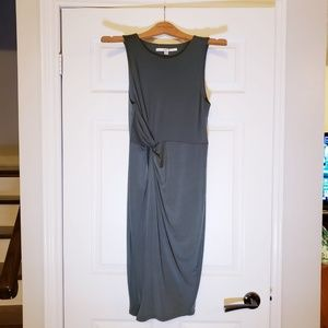 GUESS ARMY GREEN SLINKY FRONT TWIST KNOT BODYCON